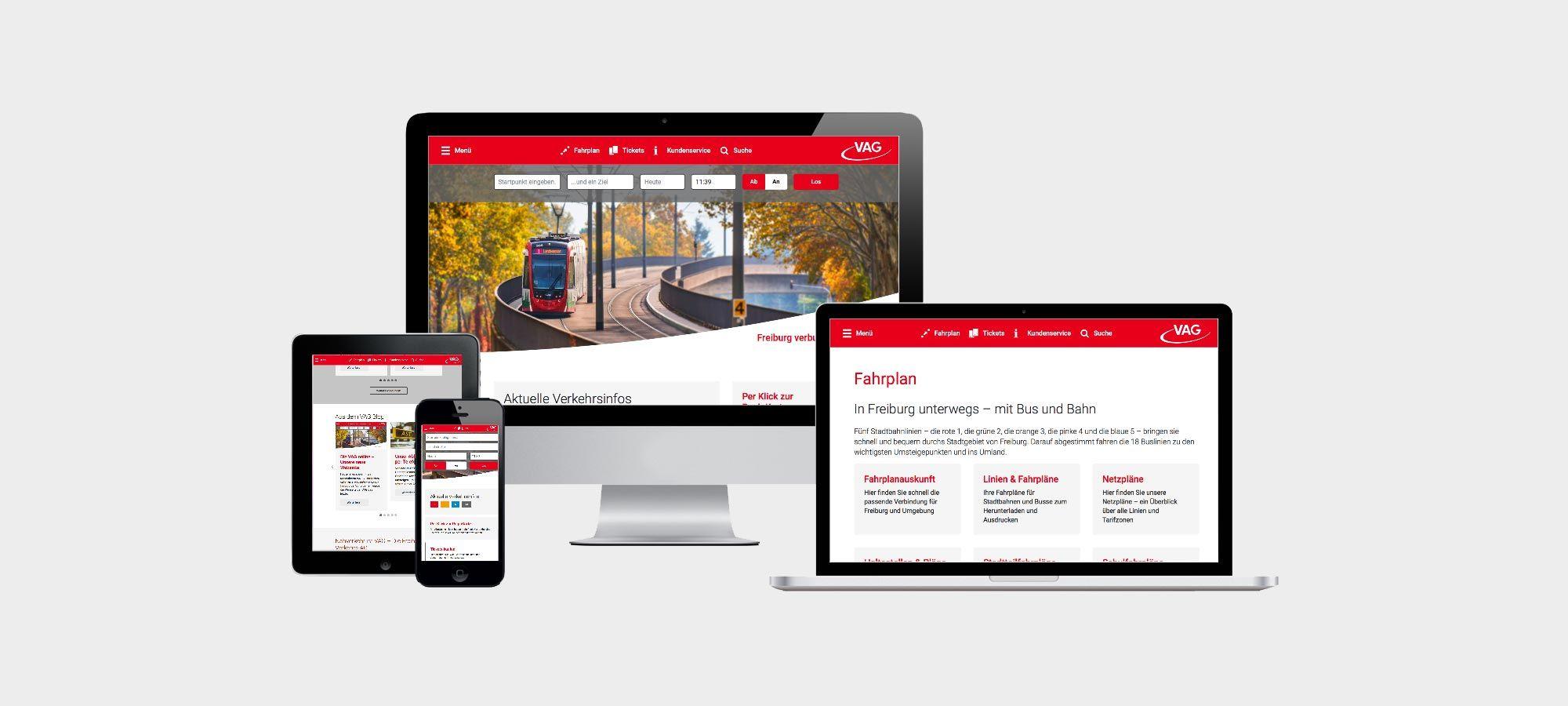 Webseite der VAG Freiburg für alle Endgeräte