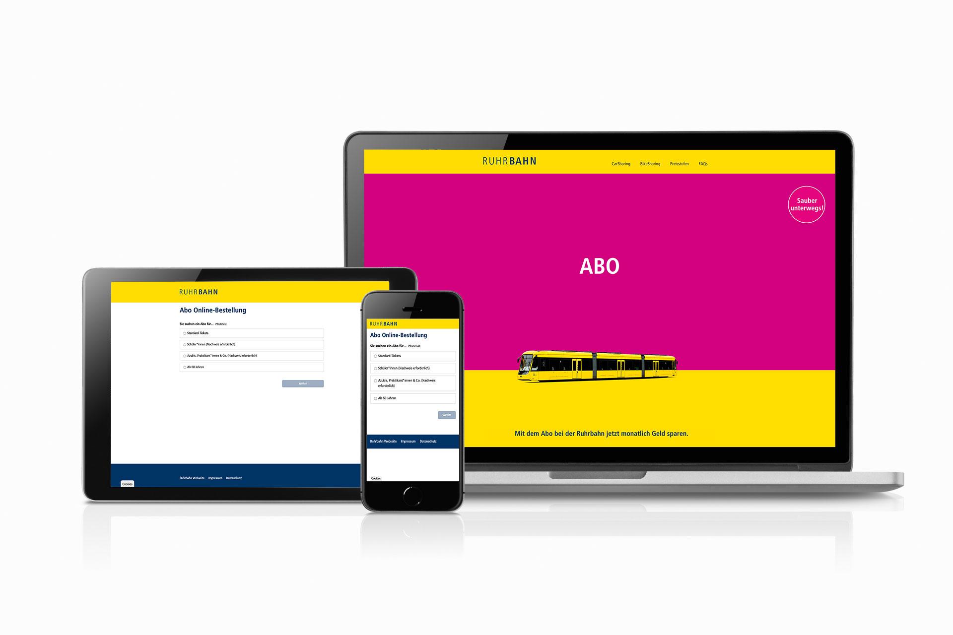 Foto: Geräteübergreifende Anwendung der ABO Online -Bestellung für die Ruhrbhan